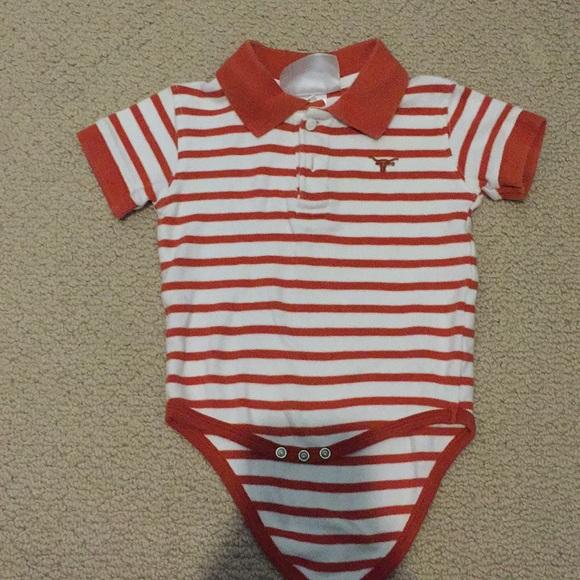 533b9762d6077 Longhorn stripes polo onesie size newborn. M 5aa045009d20f0a7de470e48